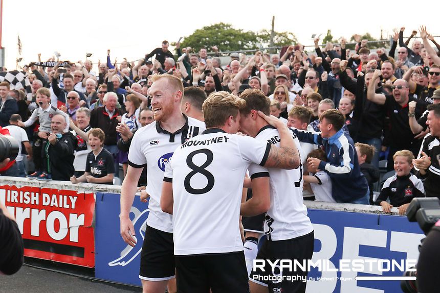UEFA Champions League Second Qualifying Round, Dundalk FC vs Rosenborg, Wednesday 12th July 2017, Oriel Park, Co Louth, David McMillan celebrates with teammates after scoring the opening goal, Credit: Michael P Ryan