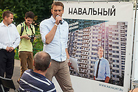 Moscow, Russia, 13/08/2013.<br /> Russian opposition blogger and political activist Alexei Navalny arrives at a campaign meeting in a residential apartment square as he campaigns as a candidate for Moscow Mayor in elections scheduled for September 8th.