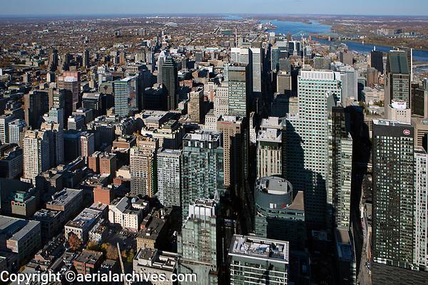 aerial photograph of the Montreal financial district in fall, Quebec, Canada | photographie aérienne du quartier financier de Montréal en automne, Québec, Canada