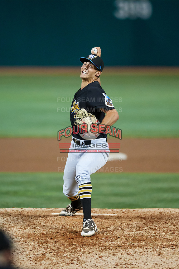 West Virginia Black Bears relief pitcher Allen Montgomery (39) delivers a pitch during a game against the State College Spikes on August 30, 2018 at Medlar Field at Lubrano Park in State College, Pennsylvania.  West Virginia defeated State College 5-3.  (Mike Janes/Four Seam Images)