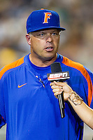 Florida Gators head coach Kevin O'Sullivan is interviewed during the NCAA College baseball World Series against the Virginia Cavaliers on June 15, 2015 at TD Ameritrade Park in Omaha, Nebraska. Virginia defeated Florida 1-0. (Andrew Woolley/Four Seam Images)
