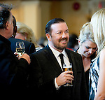 BANFF, AB, CANADA - JUNE 15:  Actor Ricky Gervais, middle, on the red carpet before the 2010 Banff World Television awards on June 15, 2010 at the Banff Springs Hotel in Banff, Alberta, Canada. Photo by Jimmy Jeong *** Local Caption *** Ricky Gervais