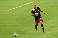 NASHVILLE, TN - SEPTEMBER 23: Federico Higuain #2 of DC United plays the ball during a game between D.C. United and Nashville SC at Nissan Stadium on September 23, 2020 in Nashville, Tennessee.