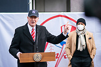 NEW YORK, NEW YORK - FEBRUARY 4:  New York City mayor Bill de Blasio speaks during a press conference about COVID-19 vaccination hub at Yankee Stadium on February 5, 2021 in New York City. Yankees legend Mariano Rivera visit the Yankee Stadium on Friday as it was transformed into a COVID-19 vaccination mega-facility for resident of the zone. (Photo by Eduardo MunozAlvarez/VIEWpress)