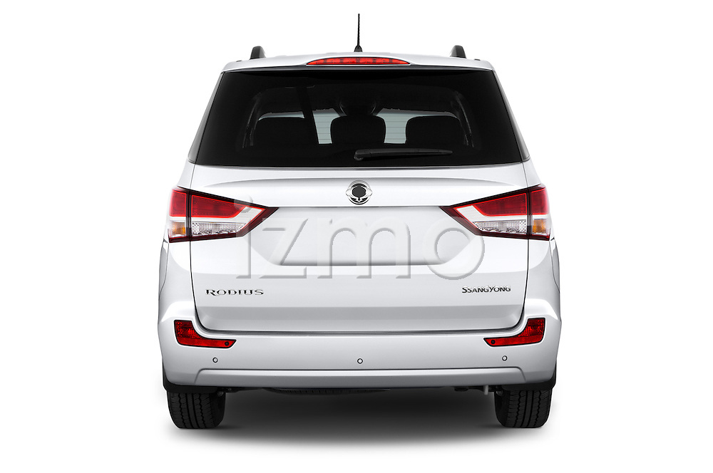 Straight rear view of 2014 Ssangyong Rodius Sapphire 5 Door Minivan Rear View  stock images