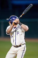 Dane McDermott (7) of the High Point Panthers at bat against the Coastal Carolina Chanticleers at Willard Stadium on March 15, 2014 in High Point, North Carolina.  The Panthers defeated the Chanticleers 11-8 in game two of a double-header.  (Brian Westerholt/Four Seam Images)