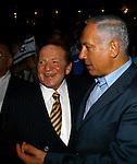 Jewish American billionaire Sheldon Adelson, left, Prime Minister Benjamin Netanyahu, right,  during a Taglit event in Jerusalem Sunday Aug 12 2007 . Photo by Eyal Warshavsky.