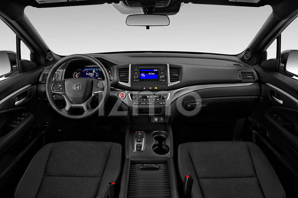 Stock photo of straight dashboard view of 2019 Honda Passport Sport 5 Door SUV Dashboard