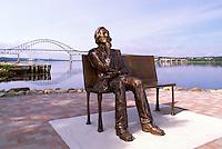 "Miramichi, NB, New Brunswick, Canada - Bronze Sculpture of ""Francis Peabody"" and Centennial Bridge over Miramichi River"