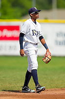 Princeton Rays shortstop Brandon Martin (7) on defense against the Burlington Royals at Hunnicutt Field on July 15, 2012 in Princeton, West Virginia.  The Rays defeated the Royals 3-1 in game two of a double header.  (Brian Westerholt/Four Seam Images)