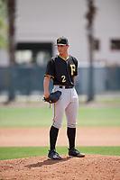 Pittsburgh Pirates pitcher Jacob Brentz (2) looks in for the sign during a minor league Spring Training game against the Philadelphia Phillies on March 24, 2017 at Carpenter Complex in Clearwater, Florida.  (Mike Janes/Four Seam Images)