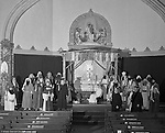 Pittsburgh PA: View of the Christmas play; the birth of baby Jesus, at the First Luthern Church on Grant Street in Pittsburgh.  Members of the congregation donned period clothing the recreate Christmas night 1958 years earlier.  The cast posing for a photo before services.
