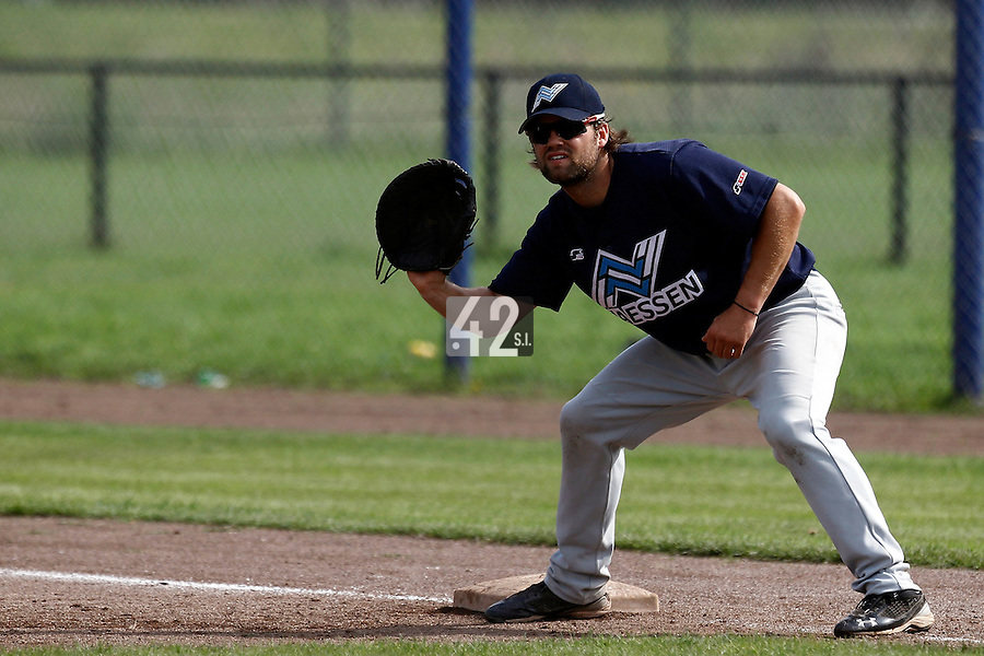 10 September 2011: Unidentified player of Vaessen Pioniers is seen during game 4 of the 2011 Holland Series won 6-2 by L&D Amsterdam Pirates over Vaessen Pioniers, in Amsterdam, Netherlands.