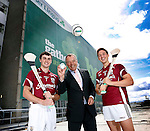 No Repro Fee..Pictured at the launch of the Aer Lingus Homecoming Hurling Tournament, in association with The Gathering, were Galway Hurlers Johnny Coen (left) and Niall Burke (right) with Are Lingus CEO Christoph Mueller. The competition will take place in autumn 2013, involving sixteen teams from around the world including North America, The UK, Europe, Asia, Australia and the four provinces of Ireland. Pic. Robbie Reynolds/CPR