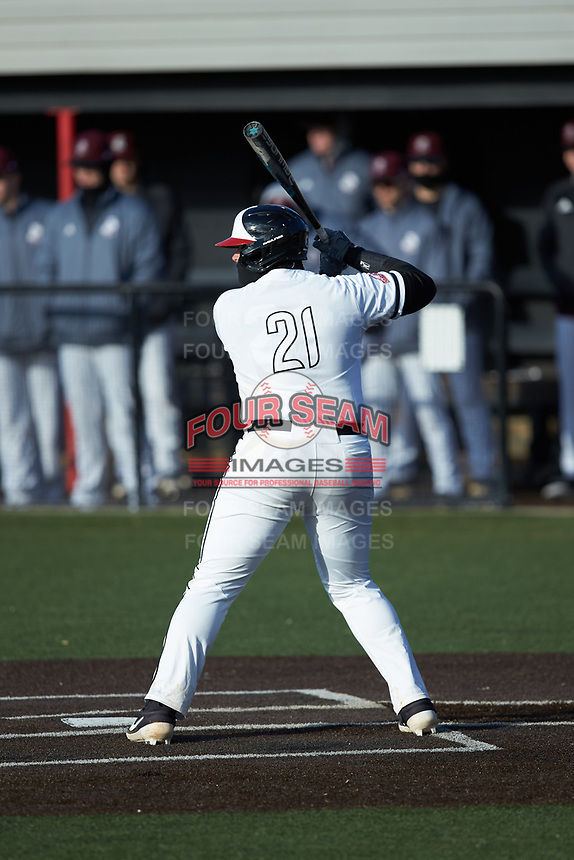 Jordan Holladay (21) of the North Greenville Crusaders at bat against the Bellarmine Knights at Ashmore Park on February 7, 2020 in Tigerville, South Carolina. The Crusaders defeated the Knights 10-2. (Brian Westerholt/Four Seam Images)