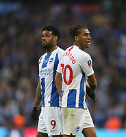 Brighton & Hove Albion's Jurgen Locadia and Bernado at the end of the match<br /> <br /> Photographer Rob Newell/CameraSport<br /> <br /> Emirates FA Cup Semi-Final - Manchester City v Brighton & Hove Allbion - Saturday 6th April 2019 - Wembley Stadium - London<br />  <br /> World Copyright © 2019 CameraSport. All rights reserved. 43 Linden Ave. Countesthorpe. Leicester. England. LE8 5PG - Tel: +44 (0) 116 277 4147 - admin@camerasport.com - www.camerasport.com