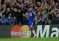 Cesc Fabregas of Chelsea as he scores to make it 4-0 during the UEFA Champions League match between Chelsea and Maccabi Tel Aviv at Stamford Bridge, London, England on 16 September 2015. Photo by Andy Rowland.