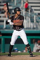 Modesto Nuts right fielder Gareth Morgan (44) at bat during a California League game against the San Jose Giants at John Thurman Field on May 9, 2018 in Modesto, California. San Jose defeated Modesto 9-5. (Zachary Lucy/Four Seam Images)