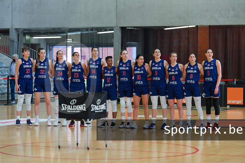 Team Serbia pictured before a basketball game between the national teams of Belgium , called the Belgian Cats , and Serbia on Friday 28 th of May 2021 in Kortrijk , Belgium . PHOTO SPORTPIX.BE | SPP | STIJN AUDOOREN