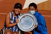 9th October 2020, Roland Garros, Paris, France; French Open tennis, Roland Garr2020;  Ladies singles wheelchair final, Yui Kamiji jpn  with her winners trophy