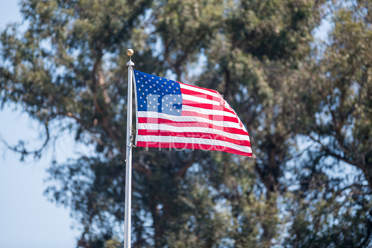 STANFORD, CA - SEPTEMBER 12: US Flag before a game between Loyola Marymount University and Stanford University at Cagan Stadium on September 12, 2021 in Stanford, California.