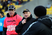 Hurricanes doctor Theo Dorfling (left) and manager Tony Ward during the Super Rugby Aotearoa match between the Hurricanes and Crusaders at Sky Stadium in Wellington, New Zealand on Saturday, 21 June 2020. Photo: Dave Lintott / lintottphoto.co.nz