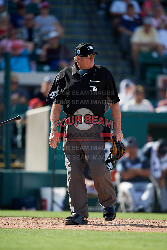 Home plate umpire Jerry Layne during a Grapefruit League Spring Training game between the Atlanta Braves and the Detroit Tigers on March 2, 2019 at Publix Field at Joker Marchant Stadium in Lakeland, Florida.  Tigers defeated the Braves 7-4.  (Mike Janes/Four Seam Images)
