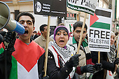 Demonstration outside the Israeli Embassy in South Kensington, London, called by the Palestine Solidarity Campaign, Stop the War Coalition, British Muslim Initiative and other organisations, to protest at the Israeli bombing of Gaza.