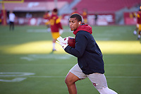 LOS ANGELES, CA - SEPTEMBER 11: Austin Jones #20 of the Stanford Cardinal warms up before a game between University of Southern California and Stanford Football at Los Angeles Memorial Coliseum on September 11, 2021 in Los Angeles, California.