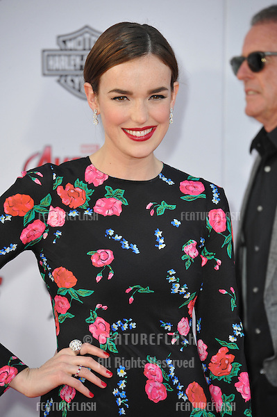 """Elizabeth Henstridge at the world premiere of """"Avengers: Age of Ultron"""" at the Dolby Theatre, Hollywood.<br /> April 13, 2015  Los Angeles, CA<br /> Picture: Paul Smith / Featureflash"""
