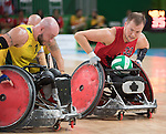 Zak Madell, Rio 2016 - Wheelchair Rugby // Rugby En Fauteuil roulant.<br /> Canada vs. Australia in Wheelchair Rugby Mixed - Pool Phase Group A, Match 12 // Le Canada affronte l'Australie en Rugby en fauteuil roulant mixte - Phase de poule, groupe A, match 12. 16/09/2016.