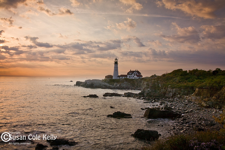 Dawn at Portland Head Light, Fort Foster, Cape Elizabeth, ME, USA