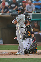 Franklin Barreto (4) of the Nashville Sounds bats against the Salt Lake Bees at Smith's Ballpark on July 28, 2018 in Salt Lake City, Utah. The Bees defeated the Sounds 11-6. (Stephen Smith/Four Seam Images)