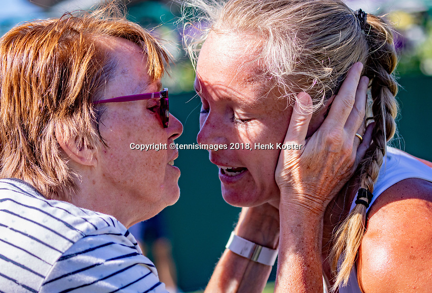 London, England, 2 th July, 2018, Tennis,  Wimbledon,  Kiki Bertens (NED) wins and is kissed by her mother<br /> Photo: Henk Koster/tennisimages.com