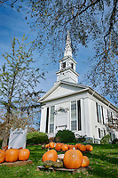 Pumpkins decorate the lawn of First Congregational Church, Chatham, Cape Cod, Massachusetts, USA