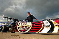 May 20, 2011; Topeka, KS, USA: NHRA top fuel dragster driver Del Worsham during qualifying for the Summer Nationals at Heartland Park Topeka. Mandatory Credit: Mark J. Rebilas-