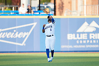 High Point Rockers shortstop Giovanny Alfonzo (1) catches a pop fly during the game against the Lexington Legends at Truist Point on June 16, 2021, in High Point, North Carolina. The Legends defeated the Rockers 2-1. (Brian Westerholt/Four Seam Images)