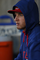 Kellin Deglan (7) of the High Desert Mavericks watches from the dugout during a game against the Inland Empire 66ers at Mavericks Stadium on May 6, 2015 in Adelanto, California. Inland Empire defeated High Desert, 10-4. (Larry Goren/Four Seam Images)