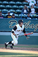 Zack Domingues (2) of the Long Beach State Dirtbags bats against the Arizona State Sun Devils at Blair Field on February 27, 2016 in Long Beach, California. Long Beach State defeated Arizona State, 5-2. (Larry Goren/Four Seam Images)