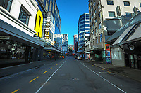 Dixon Street, Wellington CBD, at 8.30am, Wednesday during Level 4 lockdown for the COVID-19 pandemic in Wellington, New Zealand on Thursday, 19 August 2021.
