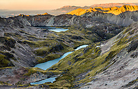 Sunset over pristine lakes of Lake Angelus and Hinapouri Tarns, Nelson Lake National Park, South Island, New Zealand, NZ