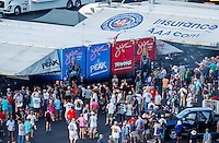 Sep 16, 2016; Concord, NC, USA; NHRA fans surround the pit area of funny car driver John Force and Courtney Force during qualifying for the Carolina Nationals at zMax Dragway. Mandatory Credit: Mark J. Rebilas-USA TODAY Sports