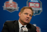 LSU Head Coach Les Miles talks with the reporters during BCS National Championship Head Coaches Press Conference at Marriott Hotel at the Convention Center on January 8th, 2012.