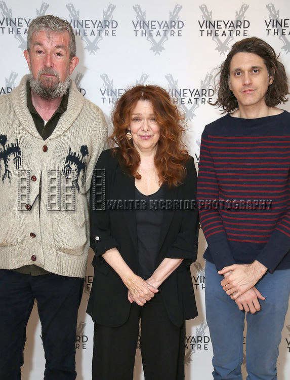 """Director Les Waters, actress Deirdre O'Connell and playwright Lucas Hnath during the cast photo call for the Vineyard Theatre Production of Dana H."""" at the Vineyard Theatre Rehearsal Studios on February 4, 2020 in New York City."""