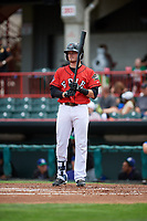 Erie SeaWolves second baseman Kody Eaves (22) at bat during a game against the Hartford Yard Goats on August 6, 2017 at UPMC Park in Erie, Pennsylvania.  Erie defeated Hartford 9-5.  (Mike Janes/Four Seam Images)