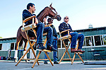 June 7, 2015: American Pharoah meets the press the morning after becoming the 12th Triple Crown winner in thoroughbred racing history. Jockey Victor Espinoza, assistant trainer Jimmy Barnes and trainer Bob Baffert joined in the post-Belmont Stakes press conference and live-TV interview at Belmont Park in Elmont, New York. Scott Serio/ESW/CSM