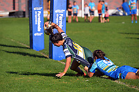 Southern's Iritana Hohaia scores the winning try on the stroke of fulltime during the 2021 Taranaki Women's Rugby premier final between Clifton and Southern at Clifton RFC in Tikorangi, New Zealand on Saturday, 12 June 2020. Photo: Dave Lintott / lintottphoto.co.nz