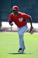 Washington Nationals outfielder Wilman Rodriguez (1) during practice before a minor league spring training game against the Atlanta Braves on March 26, 2014 at Wide World of Sports in Orlando, Florida.  (Mike Janes/Four Seam Images)