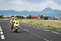 the Mavic neutral support scooter leaving Clermont-Ferrand ahead of the peloton with the legendary Puy-de-Dôme as a backdrop<br /> <br /> Stage 1: Clermont-Ferrand to Saint-Christo-en-Jarez (218km)<br /> 72st Critérium du Dauphiné 2020 (2.UWT)<br /> <br /> ©kramon