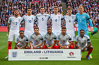 The England pre match team photo (back row l-r) Kyle Walker, Dele Alli, Michael Keane, Eric Dier, John Stones & Goalkeeper Joe Hart (front row l-r) Raheem Sterling, Adam Lallana, Ryan Bertrand, Alex Oxlade-Chamberlain & Jermain Defoe before the International World Cup Qualifying match between England and Lithuania at Wembley Stadium, London, England on 26 March 2017. Photo by PRiME Media Images.